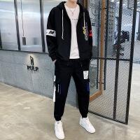 秋季男士卫衣套装韩版潮流青少年连帽学生开衫外套男休闲套装2件