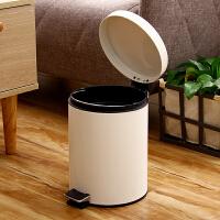 【满199减100】欧润哲 米白色圆形5升有盖静音垃圾桶脚踏 欧式创意家用卫生间酒店