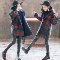 女童呢子大衣2018新款秋冬韩版洋气儿童毛呢外套冬季大童加厚冬装 绿色