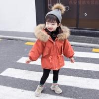 女宝宝羽绒2018新款棉衣小童洋气加厚外套女童冬装中长款棉袄