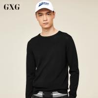 GXG毛衫男装 春季时尚潮流气质青年字母休闲印花黑色圆领线衫男