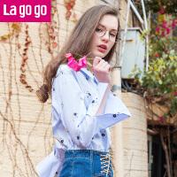 【3折价86.4】Lagogo拉谷谷2017年夏季新款清新翻领上衣可爱喇叭袖混色衬衫女!