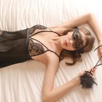 呼之欲出的爱 性感睡衣女秋冬睫毛蕾丝镂空吊带睡裙 黑色 均码(睡裙+丁裤)