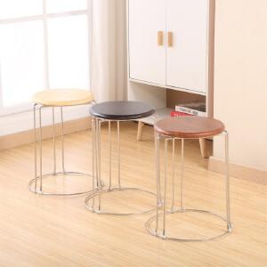门扉 凳子 加厚钢筋凳可叠放凳子时尚家用餐登铁登地毯登铁圆凳子