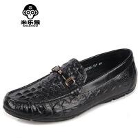 米乐猴 夏季新款英伦鳄鱼纹豆豆鞋男鞋软皮日常休闲鞋透气潮流