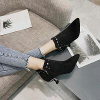 猫跟鞋女秋冬新款水钻细跟短靴女中跟尖头裸靴铆钉保暖冬靴马丁靴
