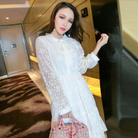 2018春季新款韩版V领仙气白色蕾丝连衣裙打底高腰显瘦百褶长裙女