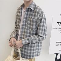 新款2018男士长袖男士个性长袖衬衫日系复古休闲长袖衬衫男潮流