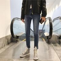 春夏港风时尚男士修身裤裤脚破烂牛仔裤韩版潮男做旧九分牛仔男裤