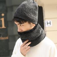 韩版学生冬天保暖针织男毛线帽子围脖一体两件套加绒骑车防风防寒围巾