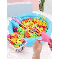 儿童磁性钓鱼玩具池套装小孩戏水鱼竿钩鱼宝宝幼儿磁铁鱼捞鱼小猫