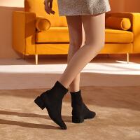 骆驼女鞋2019冬季新款粗跟短筒学生女靴子小跟韩版百搭潮小短靴女