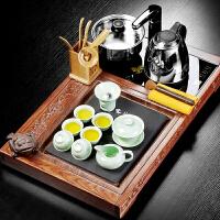 功夫茶具套装花梨木乌金石茶盘家用简约陶瓷茶具办公室带电磁炉