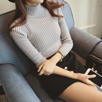 韩版气质时尚百搭竖纹紧身显瘦套头高领长袖打底针织衫打底衫上衣 均码