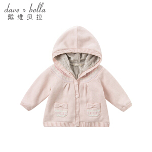 davebella戴维贝拉2018秋冬女童新款针织衫 宝宝加绒上衣DBZ8403
