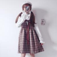 秋冬新款韩版女装学生裙子宽松百搭格子加厚可爱连衣裙背心裙