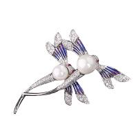 蜻蜓胸针西服胸花女时尚水晶领针别针丝巾扣披肩扣配饰品 银色