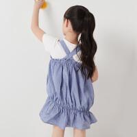 童装女童连衣裙夏装新款百褶荷叶边俏皮可爱灯笼背带裙