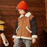 【大牌日3件2折:160】巴拉巴拉旗下巴帝巴帝2019年秋冬男童中大童夹克撞色儿童羊羔毛外套