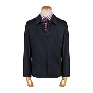 youngor/雅戈尔 男士翻领羊毛料藏青色两层夹克外套