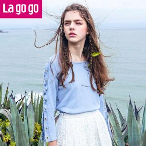 Lagogo/拉谷谷2017夏季新款直筒纯色绑带上衣圆领套头针织衫女
