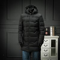 欧洲站冬装连帽羽绒服青年修身纯黑色羽绒外套中长款简约大气