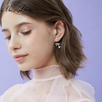 蝴蝶结仿珍珠耳钉短款耳坠淑女简约时尚气质大气耳饰饰品