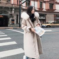 2018新款派克羽绒服女中长款韩版过膝时尚加厚欧货冬款黑色