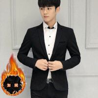 秋季修身小西装加绒男士韩版休闲小西服青年单西服职业装上衣外套