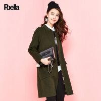 毛呢大衣女中长款字母印花纯色春季新款韩版拉链长袖直筒外套