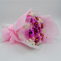 小熊花束礼盒卡通娃娃 香皂玫瑰生日礼物女生金箔玫瑰花束 粉色 6粉熊9粉金 圆形