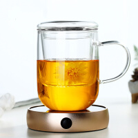 加厚耐热透明过滤玻璃杯三件创意办公茶杯花茶杯子泡茶杯茶杯带把盖过滤创意男女泡茶家用杯子 350ML