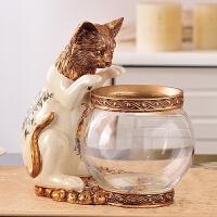 美式田园鱼缸创意小猫钓鱼花瓶金鱼缸书桌动物装饰欧式趣味摆件