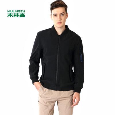 木林森男装  春新款青年简约立领保暖开衫夹克 时尚复合休闲外套01361501