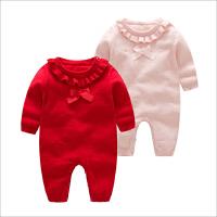 婴儿毛线连体衣女宝宝单层新年红色哈衣针织衫爬服
