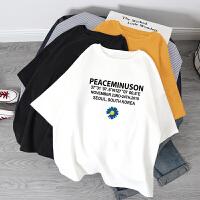 【95%棉】短袖t恤女2018新款夏装韩版百搭修身印花学生半袖白色体恤上衣女