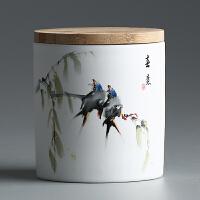 密封茶叶罐 陶瓷茶盒茶仓密封储物罐普洱罐 功夫茶具存茶罐