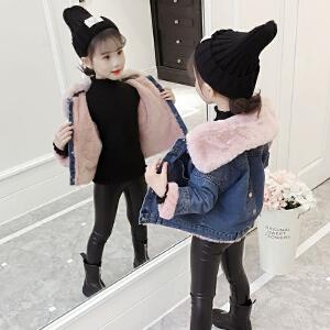 安妮纯女童牛仔外套2019新款加厚加绒冬季韩版洋气儿童大童小女孩秋冬装