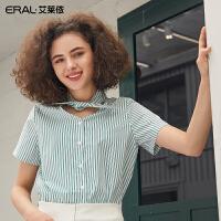 艾莱依2019夏季新款绑带衬衣女V领韩范短款条纹衬衫女601824031