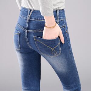 SOOSSN 2018夏季韩版牛仔裤女 小脚裤长裤修身显瘦韩国学生紧身铅笔裤16101