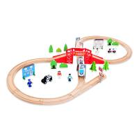 木制8字形轨道赛车电动路轨轨道电动木质火车轨道儿童益智玩具