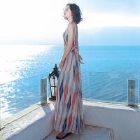 雪纺连衣裙女士夏季新品女装条纹大码波西米亚长裙海边度假沙滩裙 图片色