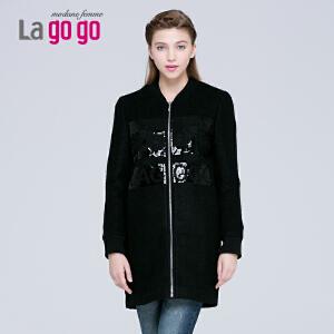 新秋冬装棒球服女中长款潮毛呢外套大衣