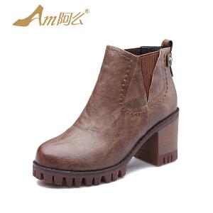 【冬季清仓】阿么复古英伦骑士靴套脚粗跟踝靴机车靴子短筒靴女鞋