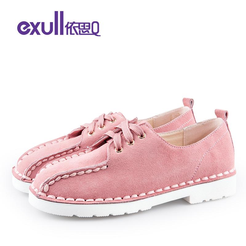 依思q春秋新款反绒皮勾线鞋头休闲鞋系带低跟单鞋女