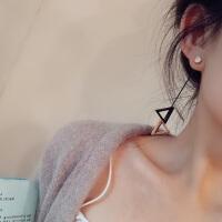 日几何三角吊坠长款流苏耳环钢饰耳钉气质耳挂耳饰女士 一对价(钛钢)