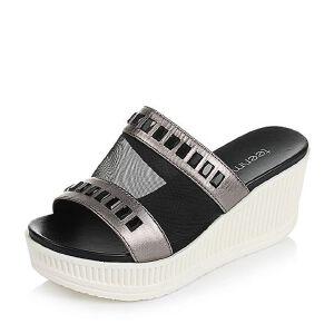 Teenmix/天美意夏季专柜同款贴膜牛皮/网布女拖鞋AM97TBT6