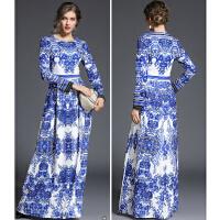 秋冬季女装新款欧洲走秀长裙显瘦修身青花瓷印花长礼服连衣裙