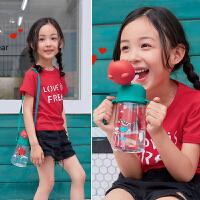 韩国杯具熊380ML儿童喝水杯子幼儿园背带学饮杯双手柄宝宝吸管杯幼儿夏季塑料杯子
