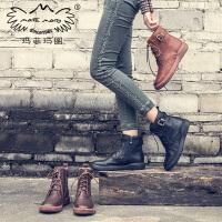 玛菲玛图机车马丁靴女厚底真皮女靴2018新款秋冬平底侧拉链复古靴子女短靴5309-11